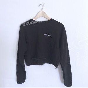 Brandy Melville Nancy New York Black Crop Sweater